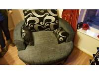 A 5 seater sofa with swivel chair