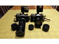 Zenith E SLR cameras complete with lenses and flash .... Reduced to £20