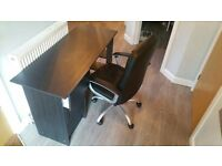 brand new black desk and black and silver swivle chair