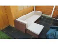 Rattan Garden Set Brown With Biege Seat Cushions