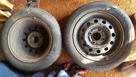 FORD 13 INCH STEEL WHEELS X 2 FOR SALE £10 THE PAIR