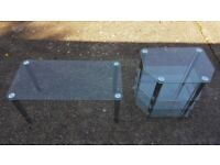 TV Stand and Clear Glass Coffee Table - delivery possible