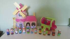Pink elc happyland windmill farm and gypsy caravan with figures