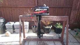 MERCURY 4HP 2 STROKE SAIL POWER LONG SHAFT OUTBOARD FOR DINGHY TENDER RIB SIB FISHING SAILING BOAT