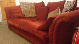 Quality red sofa and armchair