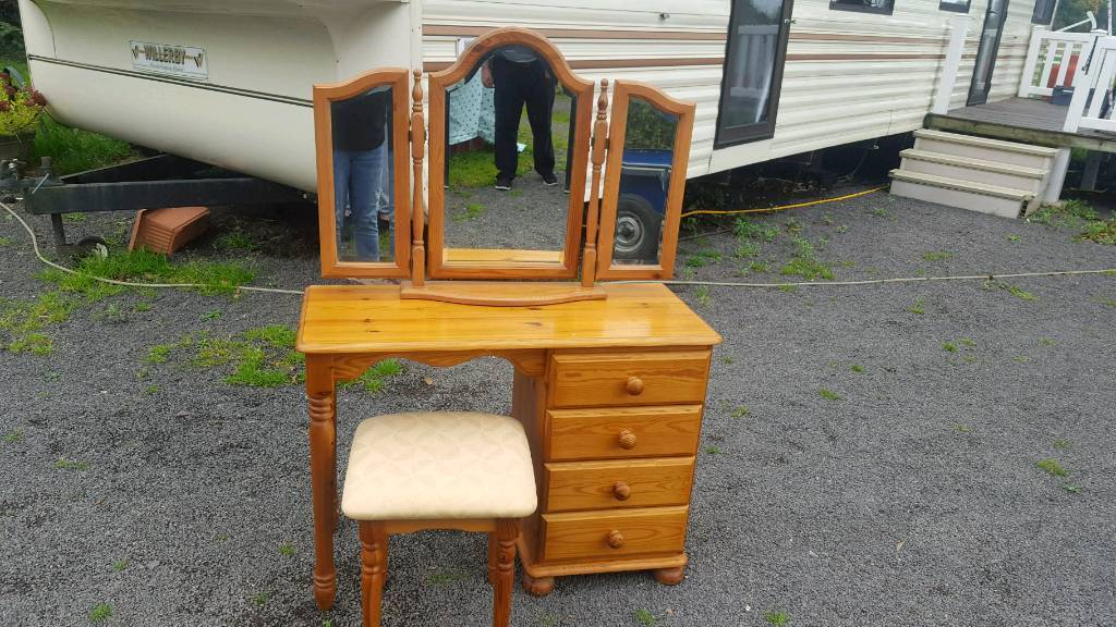 Solid pine dressing table stool and mirror