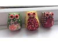 Lovely set of 3 handmade owl brooches