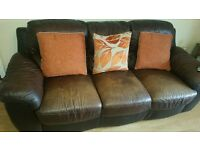 Brown 3 & 2 leather sofa
