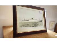 Vintage Framed Picture Of Ship Edinburgh Castle