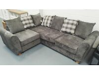 Brand New Fabric Corner Sofa With Tartan Cushions. Can Deliver. RRP £699. 187cm By 246cm