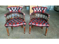 Pair of Chesterfield Captain /Side Chairs