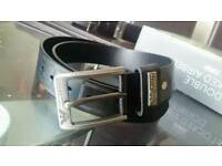 Armani black designer leather belt