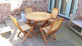 Hardwood and Rattan Folding Patio Set - Stored and Never Used