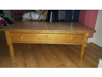 Oak table with large drawer