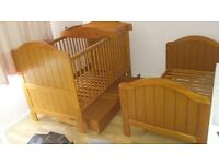 Mamas & papas amie cot bed X2 with drawer underneath & baby changer