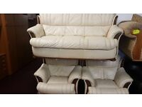 Lovely leather 3 piece suite for sale