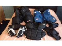 Ice hockey player and net minding kit. Would sell separately or job lot.