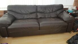 PAIR OF GOOD QUALITY LEATHER SOFAS - FREE COLLECTION