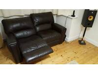 Leather 2 seat reclining sofa x2