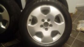 Set of 5 stud alloys good condition tyres also good