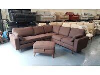 Ex-display Sofa Workshop Brandon brown fabric corner sofa and footstool