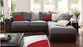 Large Left Hand Facing Corner Sofa With Matching Footstool
