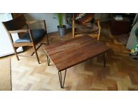 Solid Redwood Coffee Table with Industrial Steel Hairpin Legs. Delivery Available. (80x49x38)