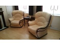 X2 soft leather large cream armchairs