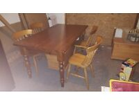Pine Dining Table and 4 Pine Chairs for sale.