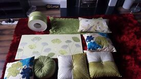JOB LOT Lime & ivory and lime & teal cushions (with lime shade and picture throw in)