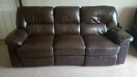DFS Real Leather Chocolate Brown Electric Settee, Chair and Footstool Storage Box