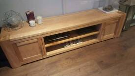 Handmade solid oak tv unit