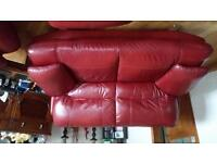 2x2 seat sofa, 1 chair & footstool cherry red leather, will split - email for price