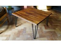 Solid Redwood Coffee Table with Industrial Steel Hairpin Legs - Delivery Available. (68 x 64 38)