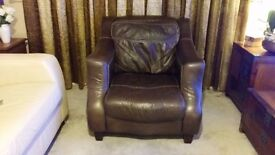 Brown Dfs leather armchair