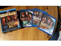 Pirates of the Caribbean Complete Blu-Ray Collection Like New.