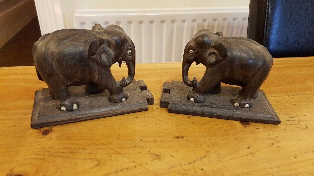 antique elephant bookends