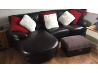BARGAIN leather corner & swivel chair sofa & foot pouffe very very good condition