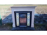102 Cast Iron Fireplace Surround Tiled Insert Victorian Style Antique Old Fire