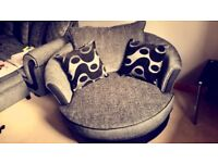DFS Black & Grey Swivel Chair (7 months old)