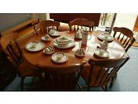 Stunning Extending Table & 6 Heavy Ornate Chairs