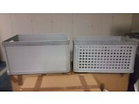 Grey plastic crates - stackable storage - 64 Litre volume. 60 x 40 x 32 cm. 150+ available Uxbridge