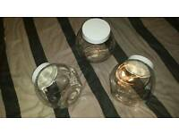 3 x Glass Storage Jars Biscuit / Pasta