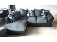 NEW Grey Chenille Fabric and Black Leather Corner Sofa Suite Free Local Delivery