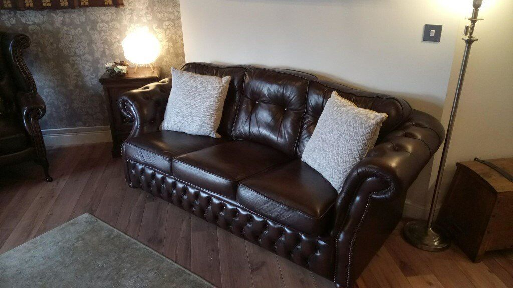 Miraculous Great Quality Large Chesterfield Sofa 3 Seat Dark Brown In Atherton Manchester Gumtree Forskolin Free Trial Chair Design Images Forskolin Free Trialorg