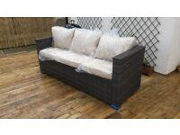 Oxford Rattan Modular 3 Seater Sofa with 2 Arms in Cappuccino