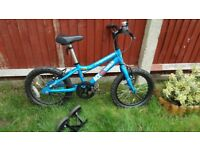Ridgeback boys matte blue MX16 bike in nearly new condition with stabilisers (training wheels)