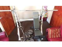 Weights 165kg with bars banch and rack