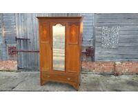 Vintage Inlaid Edwardian Wardrobe sussex mirror drawer splits