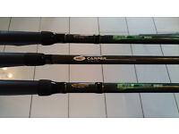 *3 Carp Rods, 3* Reels 30lb Korda Line, Bank Sticks, 3* Spare Spools 15lb line, Rod Bag. £105 ono